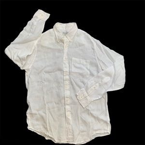 ABERCROMBIE & FITCH white linen button up shirt